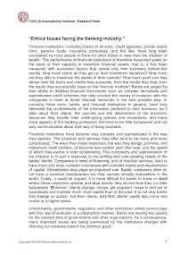 Research Note on Ethical Issues facing the Banking Industry