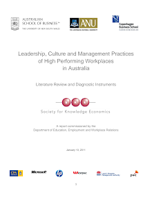 Study Report on Culture and Management Practices of High Performing Workplaces