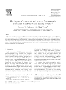 The impact of contextual and process factors on the evaluation of activity-based costing s