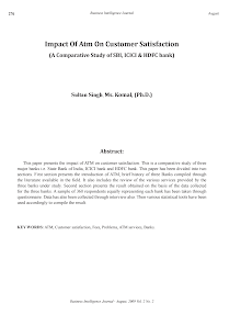 Impact of Atm On Customer Satisfaction