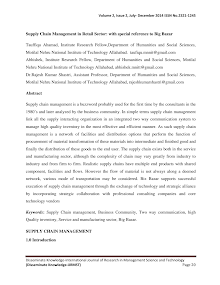 White Paper on Supply Chain Management in Retail Sector Special Reference to Big Bazar