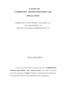 A Study on Commodities Trading Investment and Speculation MBA Marketing Projects