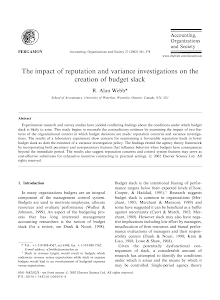 The impact of reputation and variance investigations on the creation of budget slack