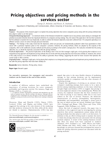 Pricing Objectives and Pricing Methods in the Services Sector