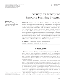 Study on Security for Enterprise Resource Planning Systems