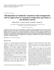 Research Paper on Development of Model for Insurance Risk Management