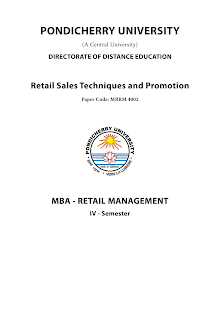 Retail Sales Techniques and Promotion
