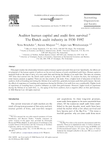 Auditor human capital and audit firm survival q The Dutch audit industry in 1930–1992