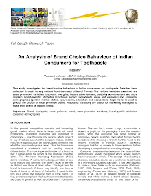 Research Paper on Brand Choice Behaviour of Indian Consumers for Toothpaste