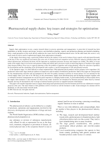 Study on Key Issues and Strategies for Optimisation - Pharmaceutical Supply Chains
