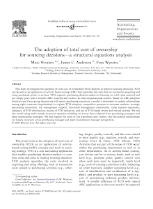The adoption of total cost of ownership for sourcing decisions a structural equations