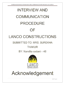 PROJECT ON INTERVIEW AND COMMUNICATION PROCEDURE OF LANCO COSTRUCTION