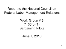 Project Report on National Council on Federal Labor Management Relations