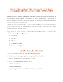 Research Report on Performance Appraisal : Literature Review and Concept Formulation