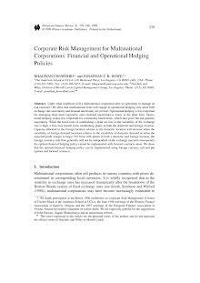 Financial Study on Corporate Risk Management for Multinational Corporations