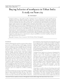 Urban India Buying behavior of toothpaste - Pune city