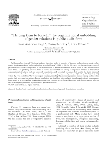 ''Helping them to forget..'': the organizational embedding of gender relations in public a