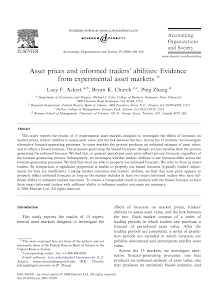 Asset prices and informed traders abilities: Evidence from experimental asset markets