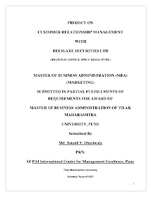Project Report on Customer Relationship Management with Religare Securities Ltd