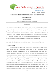A Study on Role of EXIM Bank in Export Trade
