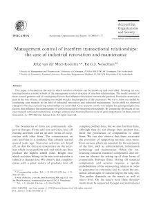 Management control of interrim transactional relationships