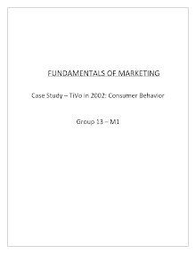 TIVO in 2002, Consumer Behavior: Case Analysis