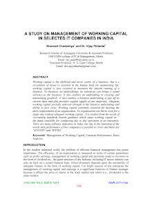 Financial Performance Study on Management of Working Capital