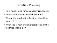Facilities & Layout Planning