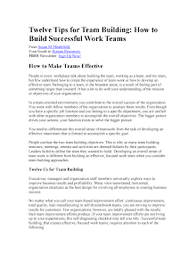 Study on Twelve Tips for Team Building