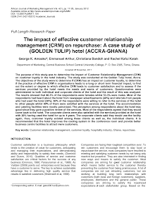 Research Study on Impact of Effective Customer Relationship Management (CRM) on Repurchase