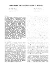 White Papet on Data Warehousing and OLAP Technology
