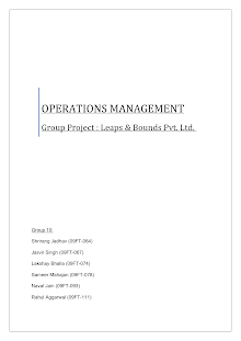Study of Operations mgmt in manufacturing company