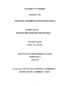 Blackbook project on vodafone customer satisfaction