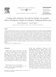 Coping with ambiguity through the budget: the positive effects of budgetary targets on man