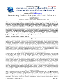 Research Paper on Integrating ERP with E-Business