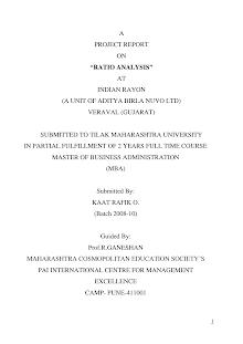 Study on Ratio Analysis at Aditya Birla Nuvo Ltd