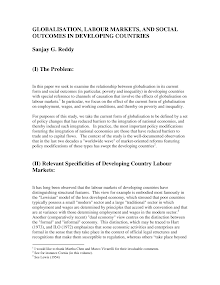 Study on Relevant Specificities of Developing Country Labour Markets