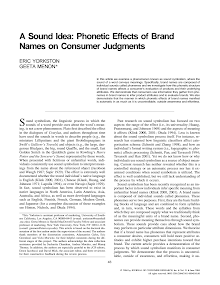 Phonetic Effects of Brand  Names on Consumer Judgments