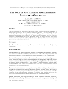 Blackbook Study on Importance of Raw Material