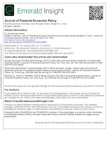 Resolving Europe banking crisis through market discipline a note