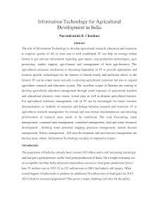Case Study on Information Technology for Agricultural Development in India