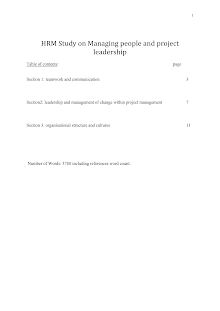 HRM Study on Managing people and project leadership