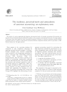 The incidence, perceived merit and antecedents of customer accounting