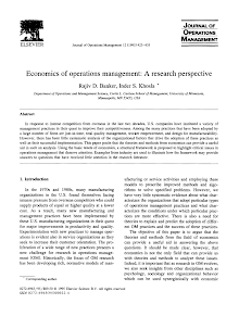 Research Perspective - Economics of Operations Management