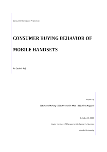 Consumer buying behavior of Mobile handsets