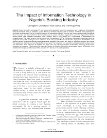 Research Study on Impact of Information Technology in Nigeria Banking Industry