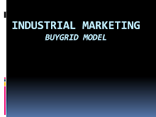 Industrial Marketing: Buy Grid Model
