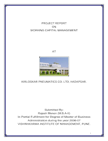 PROJECT REPORT ON WORKING CAPITAL MANAGEMENT.