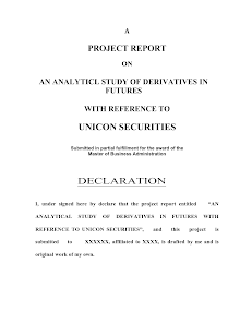 An Analytical Study of Derivatives in Futures MBA Project
