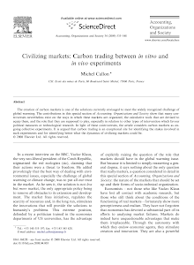 Civilizing markets: Carbon trading between in vitro and in vivo experiments